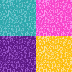 Vector seamless pattern with musical notes