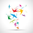 Abstract swallows background # Vector