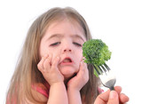 Girl and Healthy Broccoli Diet on White