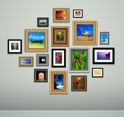 Picture frame vector. Vintage photo frames on wall
