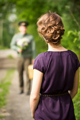 A girl meets a guy with army