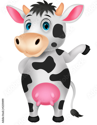 Cute cow cartoon waving hand