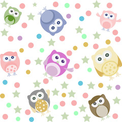 Background with many cute owl