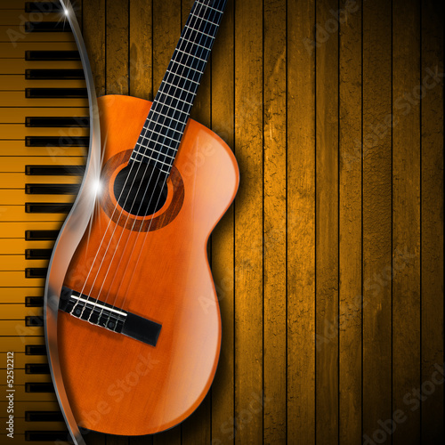 Acoustic Guitar and Piano Wood Background