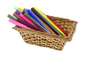 Fine Tip Markers in Basket