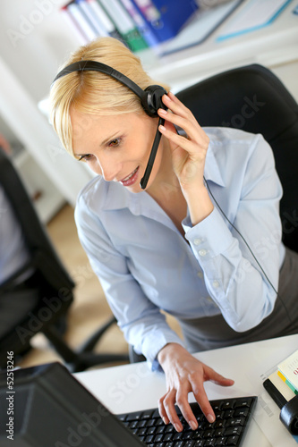 Customer service operator on the phone