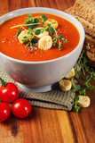 Fresh Tomato Soup with Bread and Spice