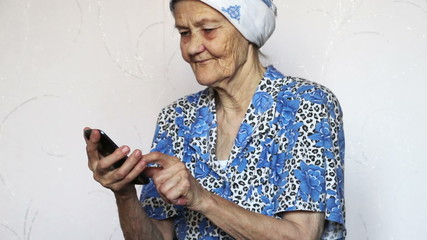 old woman using smartphone