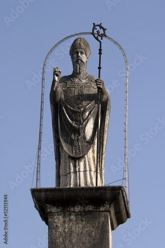 Statue of St John above the north entrance, Trogir in Croatia