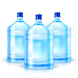 Three big bottles with clean water