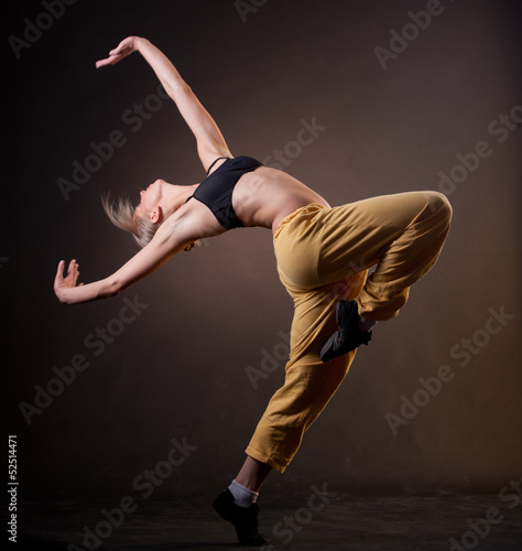 Foto op Canvas Dance School young beautiful blonde woman in motion