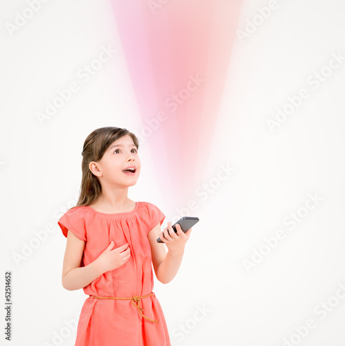 Inspired child with smartphone
