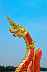 Red Serpent  statue in temple Thailand