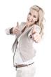 Erfolgreiche junge Frau isoliert macht Karriere