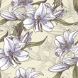 Seamless background with lilies in vintage style