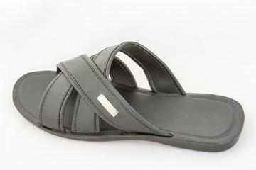 Black Slipper on White