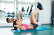 fitness woman working out doing press fitness exercise