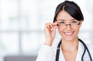 Female doctor wearing glasses