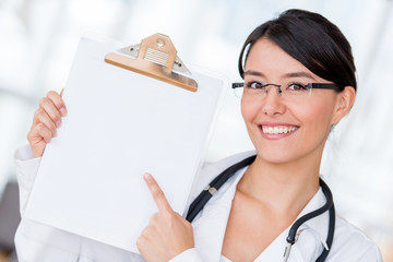 Doctor pointing at a prescription