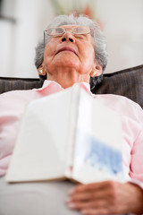 Elder woman falling asleep