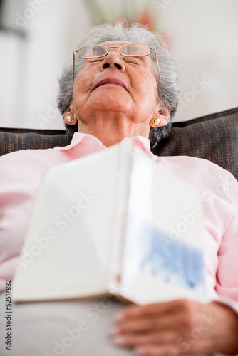 Elder woman falling asleep