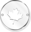 Metal button with mapple leaf sign