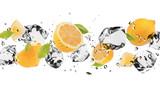 Fototapety Ice fruit on white background