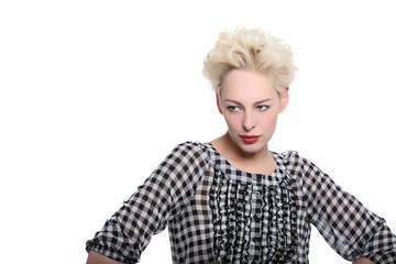 frau blond kariertes hemd