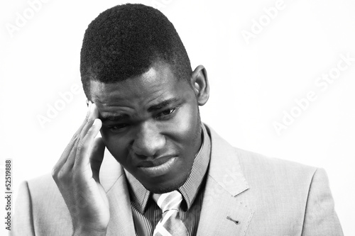 Stressed man, in black and white