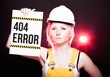 404 error sign placed on information board, worker woman