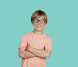 Smiling boy with glasses