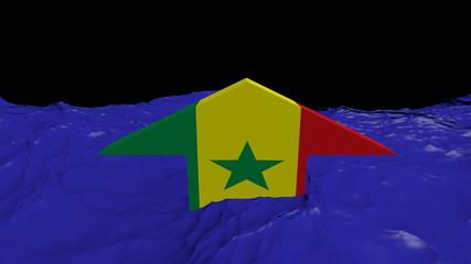 Senegal flag arrow in abstract ocean animation