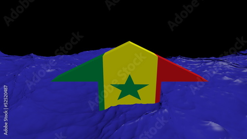 Senegal flag arrow in abstract ocean animation