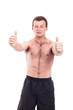 Excited shirtless man thumbs up