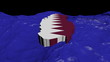 Qatar map flag in abstract ocean animation