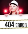 404 error sign on information poster, worker woman