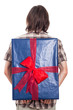 Rear view of man with big present