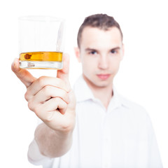 Man with glass of whiskey