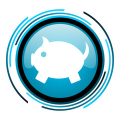 piggy bank blue circle glossy icon