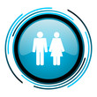 couple blue circle glossy icon