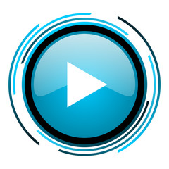 play blue circle glossy icon