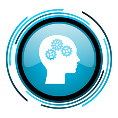 head blue circle glossy icon