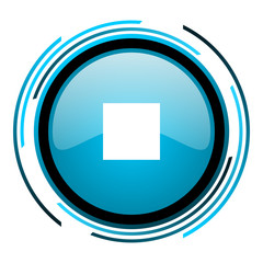 stop blue circle glossy icon
