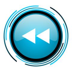 scroll blue circle glossy icon