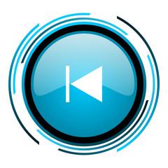 prev blue circle glossy icon