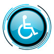 accessibility blue circle glossy icon