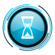 time blue circle glossy icon
