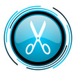 scissors blue circle glossy icon