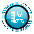 barber blue circle glossy icon
