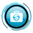 financial blue circle glossy icon
